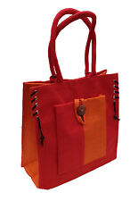 Eco-friendly Jute shopper bag - Red & Tangerine