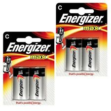 New 4X Energizer Battery Max Lr14 C Size 2 Pack Batteries Long Lasting Alkaline