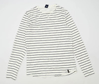Springfield Womens Size S Striped Cotton White Long Sleeve T-Shirt (Regular)