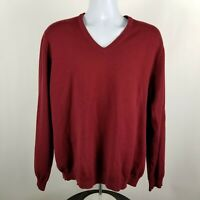 Brooks Brothers Extra Fine Merino Wool Mens Red V-Neck Sweater L/S Size XL