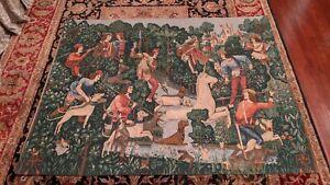 "Unicorn Attacked 16th C French Silk Screened Wall Tapestry La Licorne 74"" x 58"""