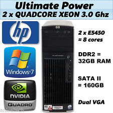 HP XW6600 QuadCore 3.00Ghz 32GB DDR2 RAM 160GB SATA NVIDIA Quadro Windows 7