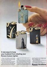 1964 Ronson Lighter Varaflame 4-Models Lighter PRINT AD cat and floral designs