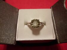 Green Amethyst Round Cut Ring w/White Austrian Crystal Accents in Stainless-Sz 9