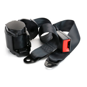 2Pcs Car Truck Black 3 Point Seat Belt Safety Travel Retractable Universal Kit