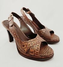 Franco Sarto Womens Brown Slingback Buckle Leather Heels Sandal Shoe Size 7 M