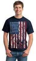 American Flag Distressed T-SHIRT patriotic tattered vintage USA flag men's tee
