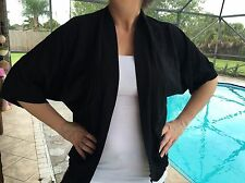 EMMA JAMES Shirt Cape Size XL Black Casual Work BOHO CHIC Great cond.