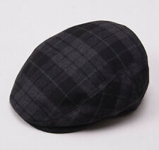 New KITON NAPOLI Gray-Black Plaid Cashmere Driving Cap 7 1/8 (57cm) M Hat