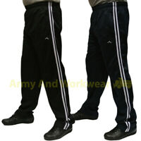 Mens Gym Baggy Silky Trackies Elasticated Jogging Bottoms Trousers - 2 stripes