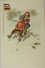 """""""Kinder, Schlitten, Deutschland, Österreich, Fahne"""" ca.1916 ♥  (13389)"""