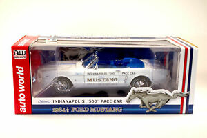 """AUTO WORLD 1:18 1964 1/2 FORD MUSTANG """"INDY 500"""" Pace Car  AW209- NEW"""