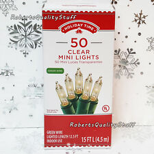 Holiday Time 50 Clear Mini Lights Christmas Wedding Green Wire NEW FREE SHIPPING