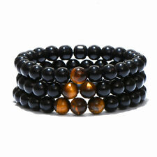 Men's Natural Stone Tiger Eyes Stone Beads Healing Energy Yoga Reiki Bracelets