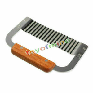 Hardwood Handle Crinkle Wax Vegetable Soap Molds Cutter Wavy Slicer Stainless