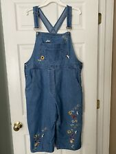 Agapo Women's Jeans Sz L Embroidered Cropped Overalls Blue