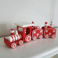 Blanc et Rouge en Bois Santa Bonhomme De Neige & présente Train de Noël