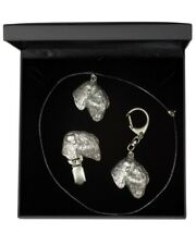 Black Russian Terrier - silver plated set with a dog in box, quality, ArtDog Usa