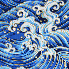 Japanese Waves cotton fabric craft upholstery 0.5m x 1.55m #F0026