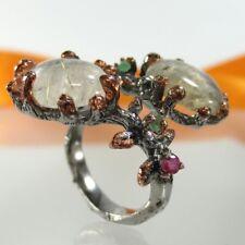 B077 Unikat Ring 925 Silber Rotgold Black Rhodium Rutilquarz Rubin Handarbeit