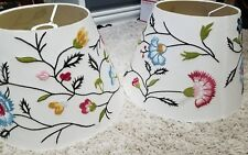 two Silk Wool Embroidered Wildflowers Floral Ivory Empire Lamp Shade beautiful