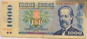 1985 Czechoslovakia 1000 Korun Banknote