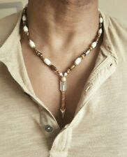 Mens Hand Made Arrow head,Spear Head Necklace,yak bone beads,leather,7 sizes