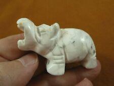 (Y-Hip-724) white Howlite roaring Hippo Gemstone carving figurine Hippopotamus