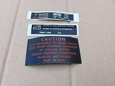 MGB, MGC Calentador de caja y etiqueta de la etiqueta engomada del motor del ventilador Mgb Triumph Mini Austin Bd5-g2