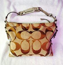 Coach Signature Carly Handbag 11648 - Khaki Jacquard With Silver leather Trim
