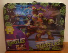 BOYS TEENAGE MUTANT NINJA TURTLES METAL LUNCHBOX WITH 48 PUZZLE PIECE DUO  NEW