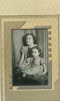 Antique Deco Photo In Folder - Little Girl & Mother - Both Dressed Alike