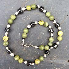 Connemara marble hematite pearl necklace.20 inches Irish gemstone jewellery 51cm