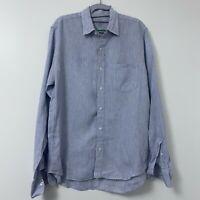 J.Crew Blue White Stripe Button Front Slim Fit Men's Shirt 100% Irish Linen Sz M