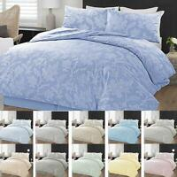 Chambray Floral Quilt Duvet Cover Bedding Set Single Double Super King Sizes