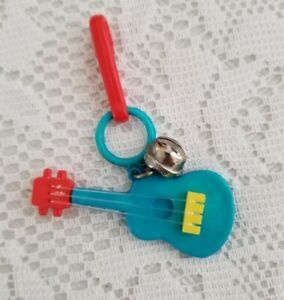 VTG 80's Blue Guitar Real Strings Clip On Charm Bell for Plastic Charms Necklace