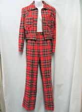 Vintage 2 Pc 1970s Or Earlier Handmade Jacket +Pants Ooak Red Plaid Clueless Are