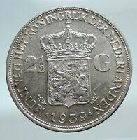 1939 Netherlands Kingdom Queen WILHELMINA 2 1/2 Gulden BIG Silver Coin i81117