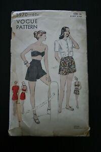 VINTAGE 1940s VOGUE 2 PC Bathing Suit w Jacket Size 14 B 32 COMPLETE Cut CUTE!