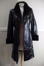 ELIE TAHARI Black shearling line with fur trim  Patent Leather Long Coat S (CO3