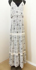Love Stitch Womens  Floral Gray  Maxi Dress, Med- crochet back with tie $69 New