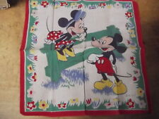 Vintage Mickey & Minnie Mouse Handkerchief-Walt Disney Productions-Circa 1950