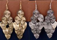 Gold / silver tone leaf chandelier earrings