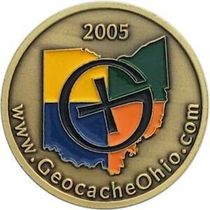 Ohio State Geocoin, 2005 Antique Bronze finish, Activated