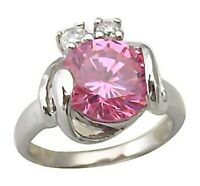 Sterling Silver Ring Pink 3.5 ct Solitaire Swirl Accent Stones Size 7 New