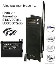 Mobile Beschallungsanlage HOLLYWOOD Port8 V2 Funkmikro, BT/DVD/USB/SD/Radio
