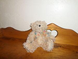 "NWT Ganz MELISSA Curly Hair Teddy Bear #H7997 w/  Butterfly Bow 10"" (*11b)"