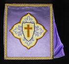 Bourse liturgique de carporal messes catholiques traditionalistes; mauve silk