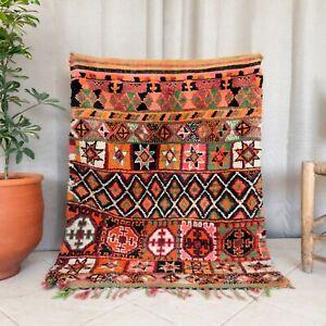 Orange 4×3.3' Small Vintage Handmade Wool Boujaad Area Rug Moroccan Living Room