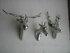 Metal Wall Mount Deer Moose & Giraffe Head set of 3 pcs Stag Head Sculpture f.